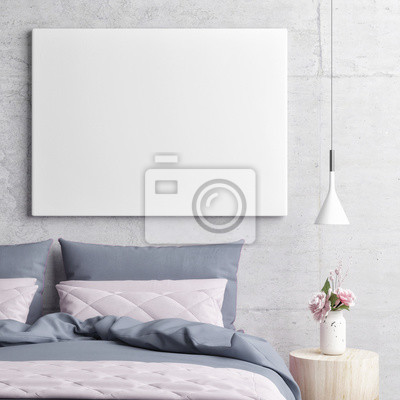 Camera da letto con mock up manifesto, illustrazione 3d adesivi per ...