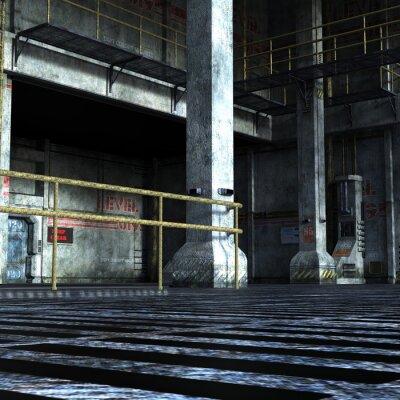 Adesivo camera industriale del Dipartimento tecnica con porte di ferro, colonne e gli elementi metallici