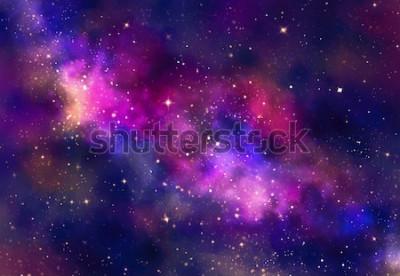 Adesivo Campo stellare nello spazio della galassia con la nebulosa, pittura astratta di arte digitale dell'acquerello per il fondo di struttura