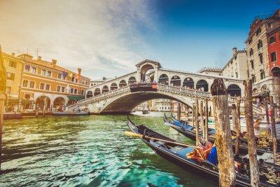 Adesivo Canal Grande con il Ponte di Rialto, al tramonto, Venezia, Italia