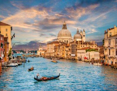 Adesivo Canal Grande con Santa Maria Della Salute, al tramonto, Venezia, Italia