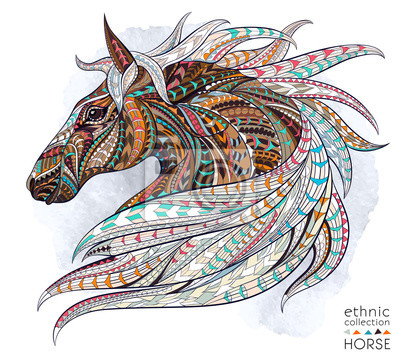 Adesivo capo Patterned del cavallo sullo sfondo del grunge. / Disegno / totem / tatuaggio indiano africano. Esso può essere utilizzato per la progettazione di una t-shirt, sacchetto, cartolina, un poster e co