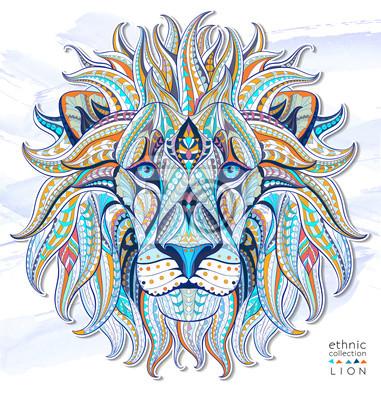 Adesivo capo Patterned del leone sullo sfondo del grunge. / Disegno / totem / tatuaggio indiano africano. Esso può essere utilizzato per la progettazione di una t-shirt, sacchetto, cartolina, un poster e così