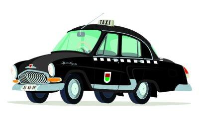 Adesivo Caricatura GAZ Volga M21 di taxi di Praga - Checoslovaquia negro vista frontale y laterale