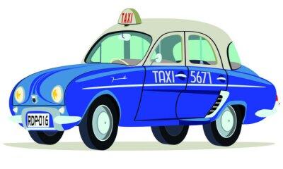 Adesivo Caricatura Renault Dauphine Taxi Saigon - Vietnam vista frontale y laterale