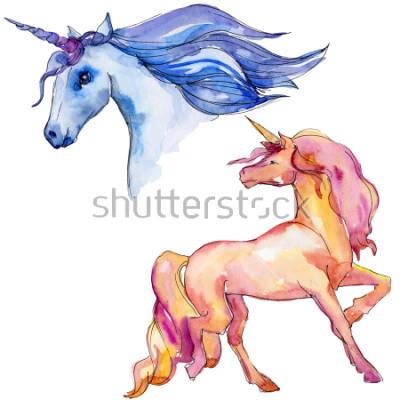 Adesivo Carino cavallo unicorno. Sogno di bambini da favola. Personaggio di corno animale arcobaleno. Elemento di illustrazione isolato. Animale selvatico dell'acquerello per fondo, struttura, modello del