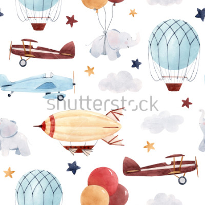 Adesivo Carino modello acquerello per bambini. Sfondo per un ragazzo, un cielo stellato con un aerostato, dirigibili e aerei, elefanti e palloncini.