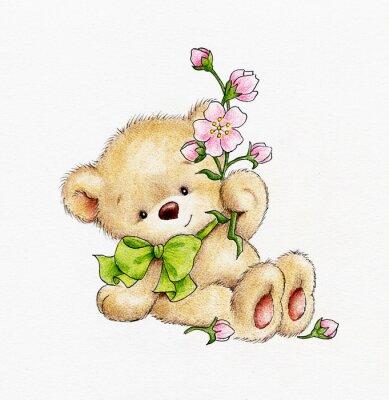 Adesivo Carino orsacchiotto con i fiori