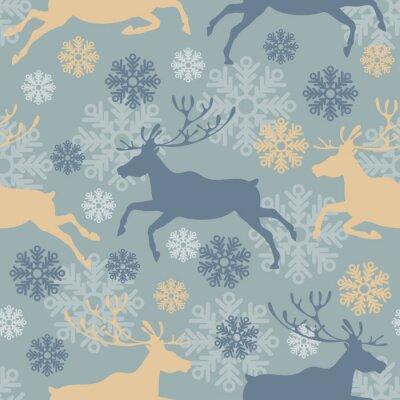 Adesivo Carino seamless Buon Natale con le renne e fiocchi di neve. illustrazione vettoriale Vintage.