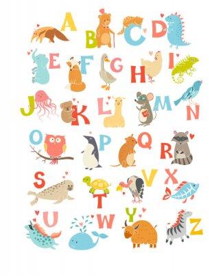 Adesivo Carino vettore zoo alfabeto. gli animali dei cartoni animati divertenti. Illustrazione vettoriale EPS10 isolato su sfondo bianco. Lettere. Imparare a leggere