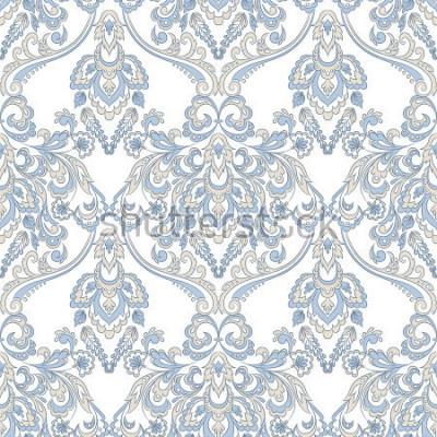 Adesivo Carta da parati floreale vettoriale Ornamento floreale classico barocco. Modello vintage senza soluzione di continuità