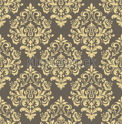 Adesivo Carta da parati nello stile del barocco. Sfondo senza soluzione di continuità Ornamento floreale oro e grigio. Motivo grafico per tessuto, carta da parati, imballaggio. Ornato ornamento di fiori damas