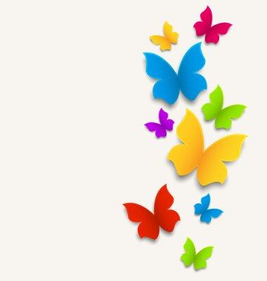 Adesivo Carta di primavera con le farfalle, la composizione colorata