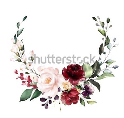 Adesivo Carta. Disegno dell'invito dell'acquerello con Borgogna e rose rosse, foglie. fiore, sfondo con elementi floreali, illustrazione botanica dell'acquerello. Modello vintage. ghirlanda, corni