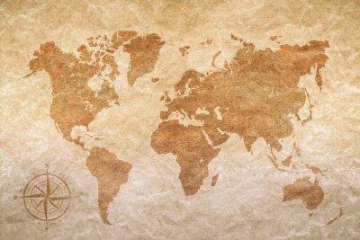 Adesivo carta vintage con la mappa del mondo