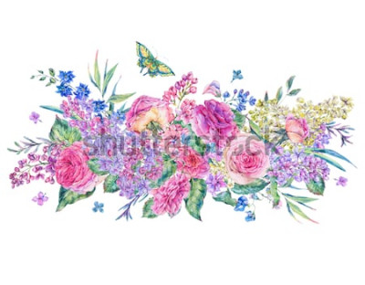 Adesivo Cartolina d'auguri d'annata decorativa dell'acquerello con le rose e lillà rosa, fiori, foglia e germogli, illustrazione floreale botanica isolata su fondo bianco