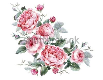 Adesivo Cartolina d'auguri floreale d'annata classica, mazzo dell'acquerello delle rose inglesi, bella illustrazione dell'acquerello