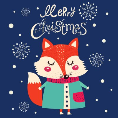 Adesivo Cartolina di Natale con carino