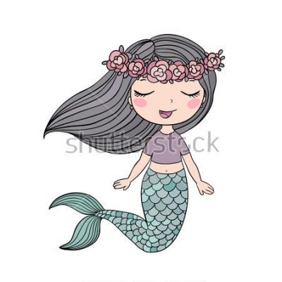 Adesivo Cartone animato bella sirenetta in una corona. Sirena. Tema del mare illustrazione vettoriale su uno sfondo bianco.