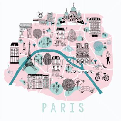 Adesivo Cartone animato mappa di parigi con icone di leggenda. Stampa Design