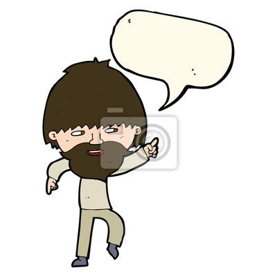 Cartone animato uomo barbuto indica e che ride con la nuvoletta