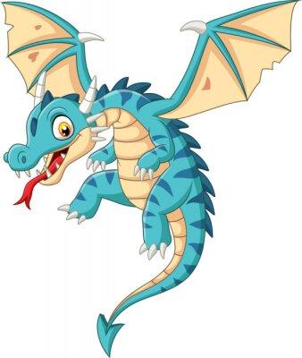 Adesivo Cartoon baby dragon flying on white background