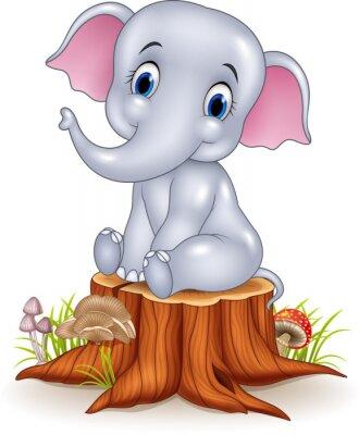 Adesivo Cartoon divertente baby elefante seduto sul ceppo di albero