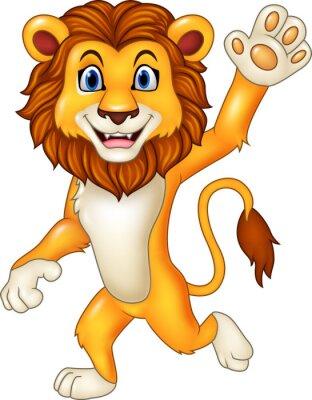 Adesivo Cartoon divertente sventolio leone