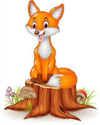 Adesivo Cartoon felice volpe seduto sul ceppo di albero