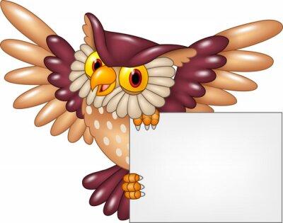 Adesivo Cartoon gufo uccello volante bianco segno di partecipazione