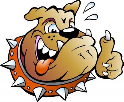 Adesivo Cartoon illustrazione vettoriale di un eccitato Bull Dog dà pollice in su