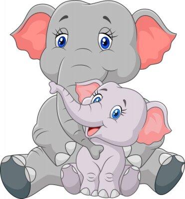 Adesivo Cartoon madre e bambino elefante seduta isolato su sfondo bianco