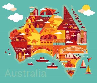 Adesivo Cartoon mappa di Australia