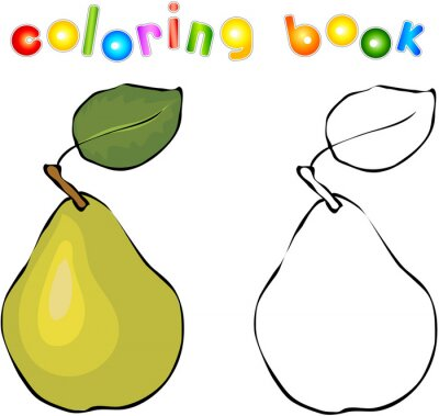 Adesivo Cartoon pear coloring book