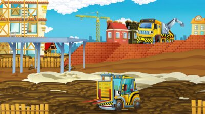 Adesivo cartoon scene with industry cars on construction site - illustration for children