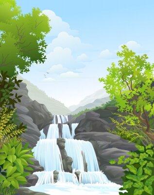 Adesivo Cascata in foresta pluviale tropicale