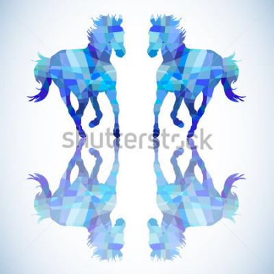 Adesivo Cavallo astratto blu di forme geometriche