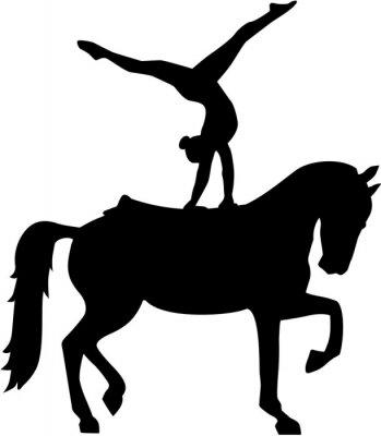Adesivo Cavallo Volteggio silhouette Voltigieren