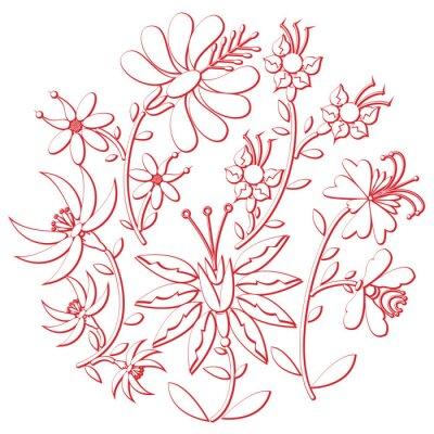 Adesivo Celebrazione giorno folk e ritaglio ricamo ispirato dalla forma rotonda Cultura dell'Europa in bianco con elementi floreali con ictus rosso con effetto 3D