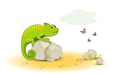 Adesivo Chameleon con le farfalle