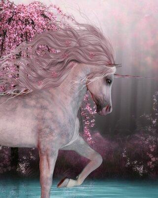 Adesivo Cherry Blossom Unicorn - Il cavallo Unicorn è una creatura mitica con un corno su di esso di fronte e fessi zoccoli e vive nella foresta magica.