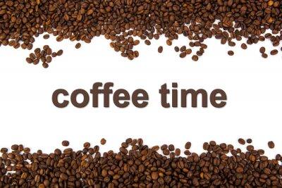 Adesivo chicchi di caffè tostato con il titolo