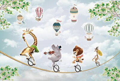 Adesivo children's picture, animals on a wheel ride on a tightrope against the sky with balloons