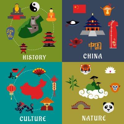 Adesivo China history, culture and nature icons