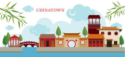 Adesivo Chinatown Costruzione e parco, Viaggi, Città, Cultura tradizionale