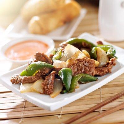 Adesivo Cibo cinese - Pepe manzo al ristorante