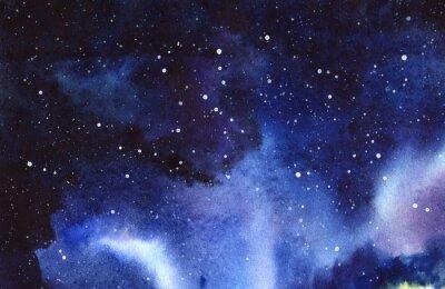 Adesivo Cielo stellato di notte Disegnato a mano su un'illustrazione reale dell'acquerello di carta bagnata.