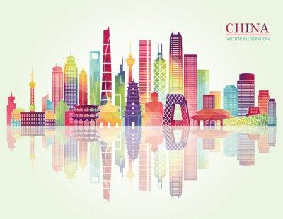 Adesivo Cina skyline silhouette dettagliata. illustrazione di vettore
