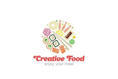 Adesivo Cinese Logo design giapponese Sushi Sashimi di pesce.