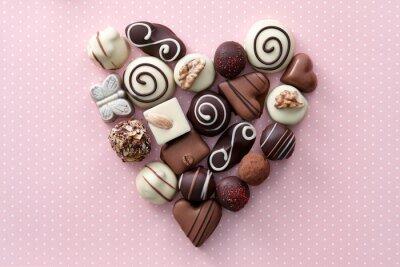 Adesivo Cioccolato caramelle cuore